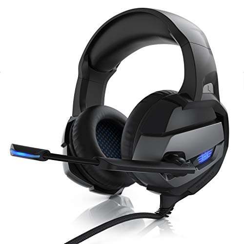 CSL - Gaming Headset für PC PS4 PS5 - USB Komfort Kopfhörer - Kabelfernbedienung Mikrofon - LED Beleuchtung - Professional - Stoffummantelte Kabel - Musik Gaming VoIP Internet
