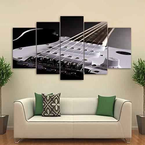 DGGDVP Obra de Arte Impresa 5 Piezas Lienzo Arte Pinturas de Guitarra enmarcadas Instrumentos Musicales Cuadros de Pared para Sala de Estar tamaño 1 con Marco