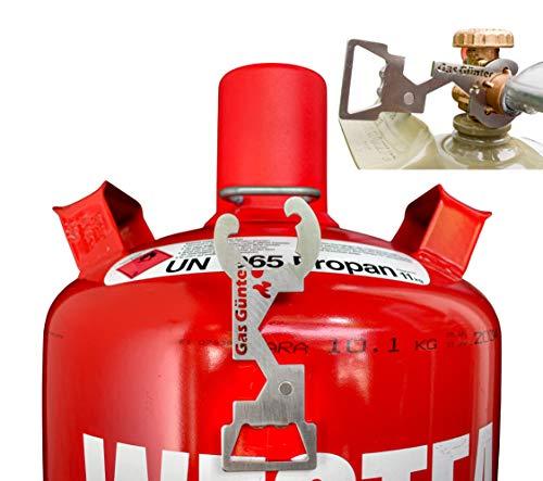 Gas Günter der Universal Gasflaschenschlüssel für 5,11,33 kg Flaschen (Camping, Caravan, Grill) - aus rostfreiem Edelstahl, entwickelt & hergestellt in Deutschland - NEU mit Magnet
