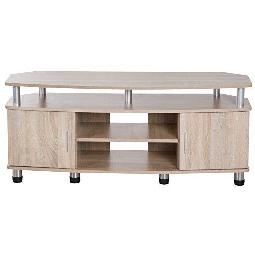 HOMCOM Mesa Soporte de TV Mueble de Comedor Salón Moderno Armario 2 Puertas 2 Estantes 120x39.5x52cm Madera Color Roble