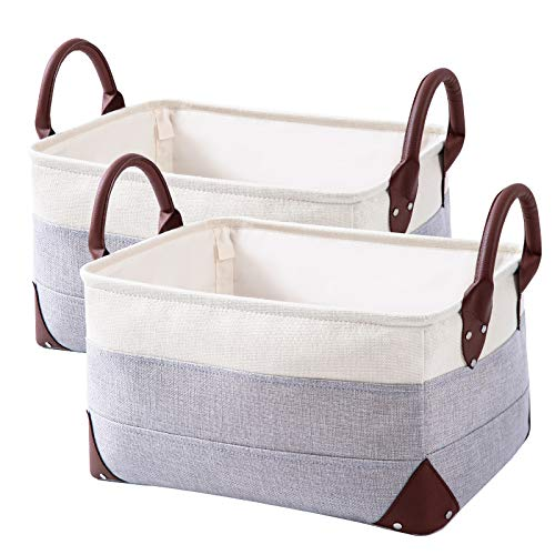 2 Pack Collapsible Storage Bin - Natural Linen Fabric Storage Basket with PU Leather Handles for Home Office Organizing Linen Closet Organizer -16 x 12 x 83 inches WhiteGray