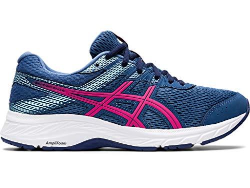 ASICS Women's Gel-Contend 6 Running Shoes, 8M, Grand Shark/Pink GLO