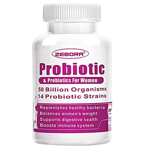 Probiotics for Women 50 Billion CFU, 14 Strains, Supports Vaginal, Digestive and Immune Health, Prebiotic Fiber Shelf Stable, Gluten & Soy Free 60 Tablets