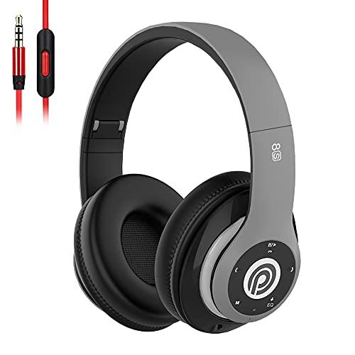8s Cuffie Bluetooth, Cuffie Over Ear con 50 ore di Riproduzione, Cuffie Bluetooth 5.0 Wireless con Microfono CVC 8.0, Cuffie Audio Hi-Fi Padiglione Super Morbido per Corso Online, PC (Grigio)
