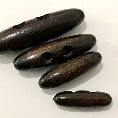 Unbekannt Holzknöpfe HL 5 Stück 4 cm / 5 cm / 6 cm Zwei-Loch-Holzolive Schnalle Baumwollmantel Windbreaker Button Claw Bekleidungszubehör Echter, tiefer Kaffee-B, 6 cm