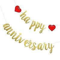 VALICLUD 2セットハッピーアニバーサリーバナーペーパーキラキラアニバーサリーガーランドハンギングハートホオジロアニバーサリーパーティーデコレーション結婚記念日バースデー(ゴールデン)