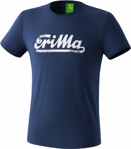 erima Retro T-Shirt - Camiseta para Hombre, Color Azul Marino/Blanco, Talla S