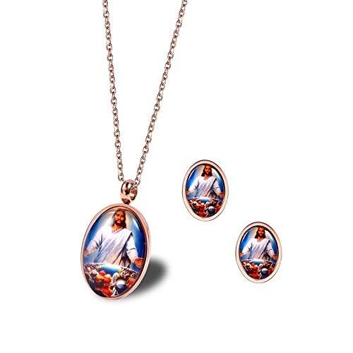 Burenqi RVS Jezus Het Laatste Avondmaal Sieraden Religieuze Ketting of Oorbellen Christelijk Geloof Spirituele Katholieke Sieraden Sets