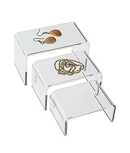 SourceOneOrg 3 Clear Acrylic Jewelry Risers Showcase - Small