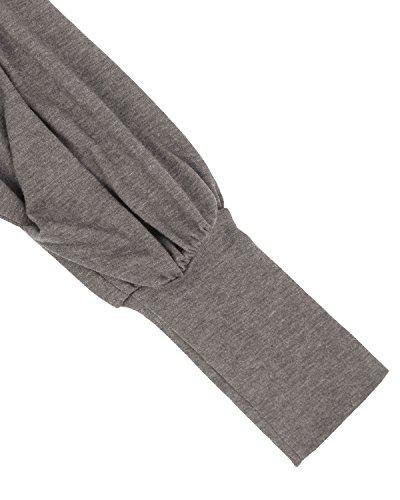 ZANZEA Jerseys de Punto Mujer Largos Cuello V Manga Larga Otoño Vestidos Sudadera Casual Tallas Grandes Suéter Suelta Gris M