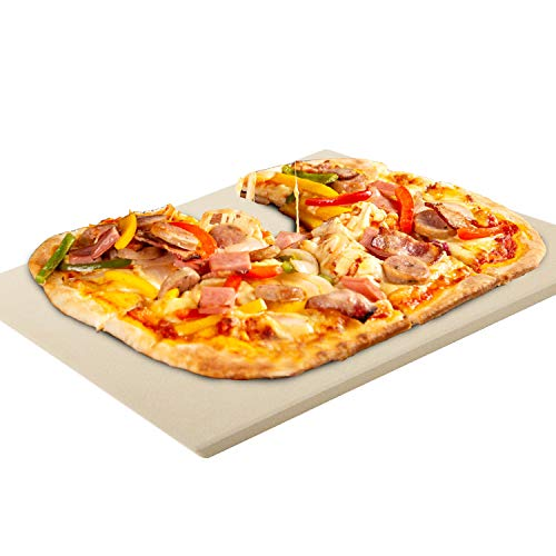 KXT 15 x 12 Inches Pizza Stone for Oven and Grill, Durable and Safe Square Baking Stone for Grill, Thermal Shock Resistant Rectangle Cooking Stone for Crispy Crust Pizza, Rectangular