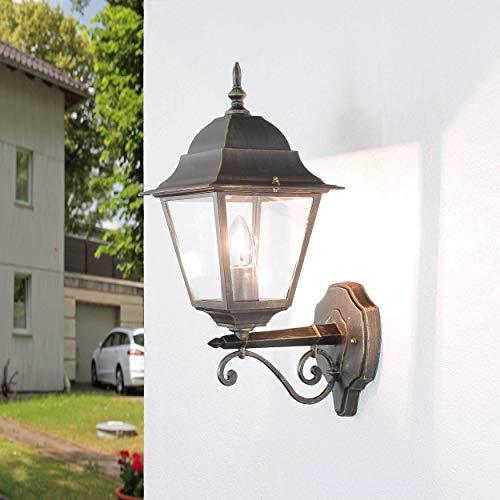 *Rustikale Wandleuchte in antikgold inkl. 1x 12W E27 LED außen Wandlampe aus Aluminium Glas für Garten Terrasse Garten Terrasse Lampe Beleuchtung*