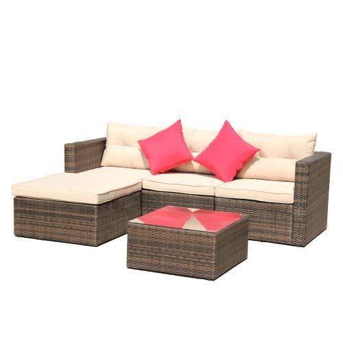 LZZJ La Entrega Simplemente Toma 3-7 días funcionales, Set de Muebles de Patio de ratán, Conjunto de Mesa de té. Silla de sofá