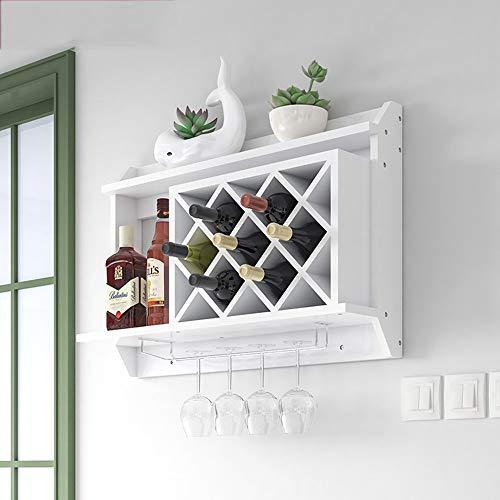 KFDQ Bastidores de vino Estante de vino Montado en la pared Mdf de madera Gabinete creativo Rejilla colgante Botella de vino Estante de copa de vino Cubilete Bastidores de vajilla Decoración de la pa
