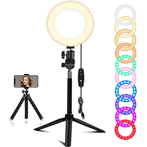 EEIEER Ring lights, video conference lighting, 6'' mini RGB Ring Light with adjustableStand, LED Dimmable Selfie Ring Light Desktop LED Lamp with USB for Makeup, Youtube, Video (RGB, 6 INCH)