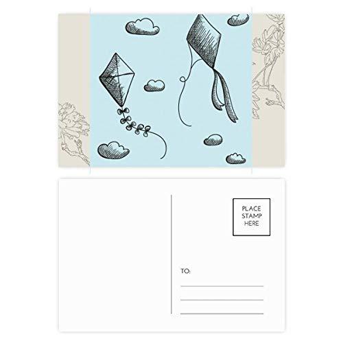 Geometría simple pintada a mano patrón de cometa flor postal conjunto de tarjetas de agradecimiento lado 20 unids