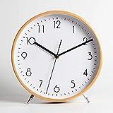 DIDA CLOCK Simple Madera Maciza Relojes Sobremesa, Minimalista Escritorio Reloj Decoración Silencioso Cuarzo Reloj-Blanco 22cm(9inch)