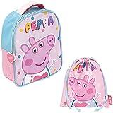REQUETEGUAY Mochila Peppa Pig Guarderia para niñas (28 cms) + Bolsa Peppa Pig con cordones para Merienda