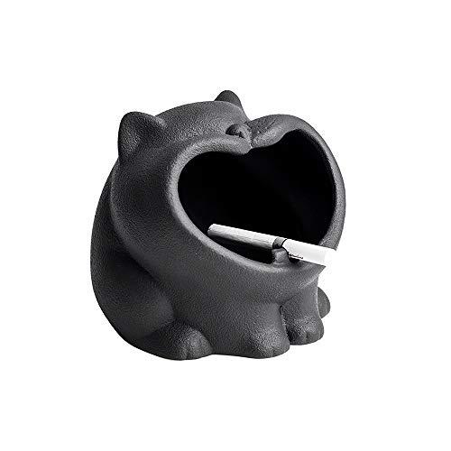 GYZLZZB Cenicero de gatito lindo con canal de humo, cenicero a prueba de viento de cerámica, como cenicero exterior o interior, cenicero de cigarrillos, adecuado para la decoración de la oficina en el