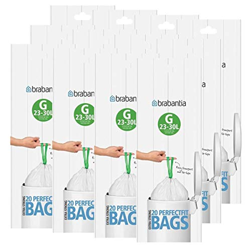 Brabantia Lot de 12 rouleaux de 20 sacs poubelle Type G 30 l