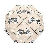 SUHETI Paraguas automático de Apertura/Cierre,Motocicletas Patrones Sin Fisuras Ciclomotores Su Diseño,Paraguas pequeño Plegable a Prueba de Viento, Impermeable