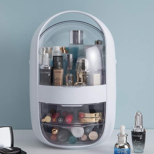 Make-up Organizer Cosmetische Storage Organizer, 2 grote lades, Transparante stofkap, Dust-proof kaptafel met grote capaciteit Cosmetics Vitrine (Color : White)