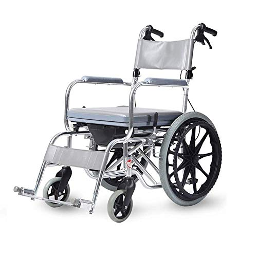 AOLI Rollstuhl nimmt ein Bad Wasserdicht, Falten Licht Multifunktions-Disabled Old Man Tragbare Super Light mit WC Trolley