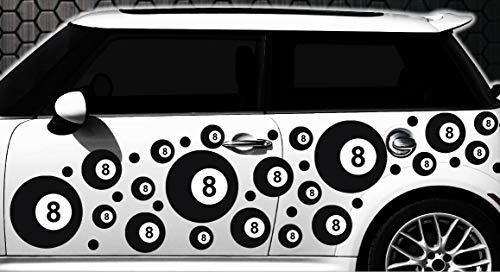 HR-WERBEDESIGN 87-teiliges Billard Kugel, Ball Pool Lucky 8 Billardkugel Aufkleber Eightball V8