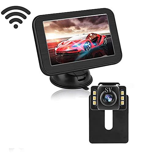 OBEST Kit telecamera di retromarcia e monitor, sistema ausiliario telecamera di parcheggio HD impermeabile IP68 da 5 pollici con binario di guida, facile da installare, adatto per auto, camion, SUV