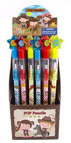 TINYMILLS 24 Pcs Western Cowboy Cowgirl Multi Point Pencils