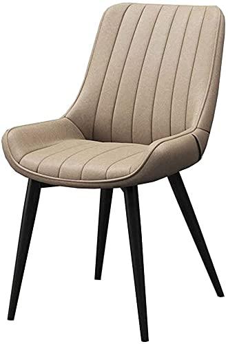 JFIA65A Sillones de comedor modernos de piel sintética con respaldo de metal y patas de metal para ocio, silla de café de estilo nórdico (color: marrón claro, tamaño: pierna negra)