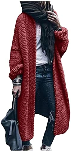 DSKEFE Mujer de punto casual gana suelta frente abierto color sólido chaqueta abrigo