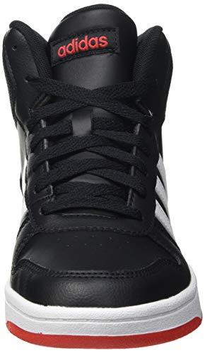 adidas Hoops Mid 2.0, Basketball Shoe, Core Black/Footwear White/Vivid Red, 36 EU