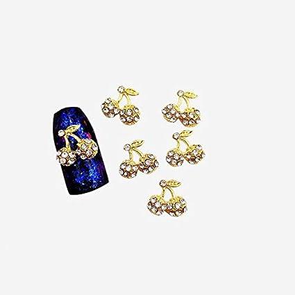 Kamas 10Pcs/bag 3D Nail Art Decorations Metal Cherry shape Glitter Rhinestones Nails Charms Diamonds For Manicure Decor - (Color: Gold white)