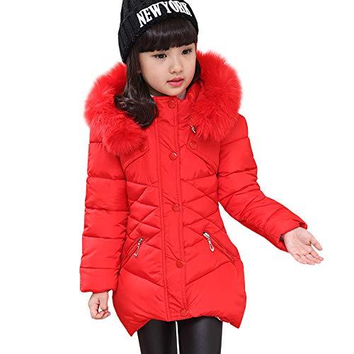 LSERVER Mädchen Dicke warme Daunenjacke Kinder Mode Winterjacke, Rot, 116(Fabrikgröße: 120)