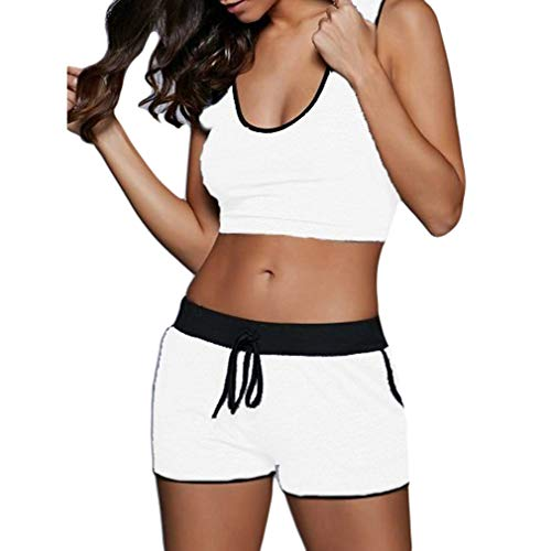 Yingshu Mujeres Sexy Patchwork Traje Yoga Entrenamiento Deportes Chaleco Cadena Shorts Bodycon Outfit Running Sport Gym Clothes Set