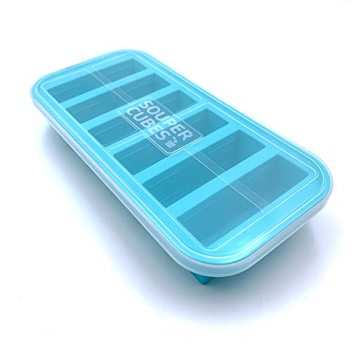 Souper Cubes 1/2-Cup Freezing Tray with lid, makes 6 perfect 1/2 cup portions, freeze pesto, salsa, or sauce
