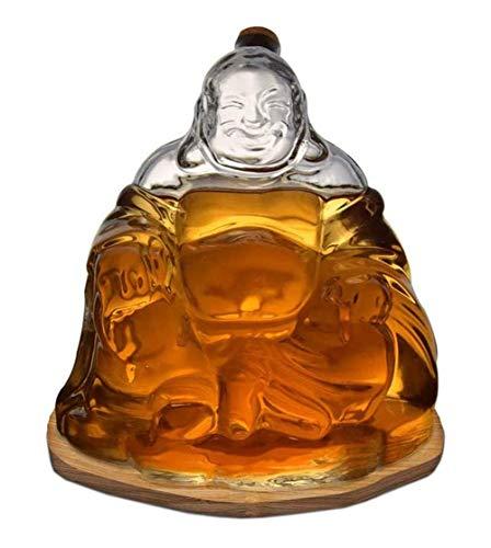 Decantador para botellas de licor con tapón de cristal, 1000 ml, estatua de Buda feliz para decoración del hogar y la oficina