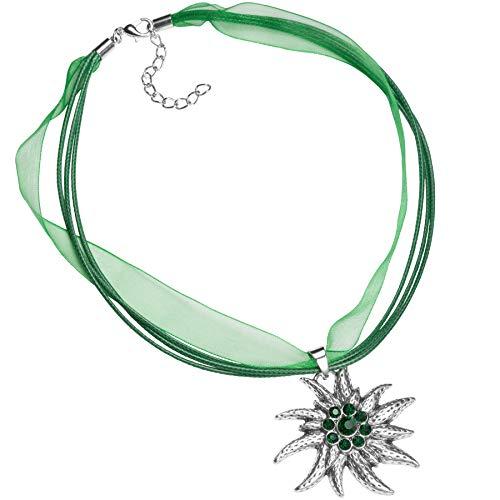 dressforfun 900578 Donna Accessorio, Collana con Ciondolo in Metallo Bianco con Strass, Costume Tirolese - Diversi Colori (Verde  Nr. 302926)