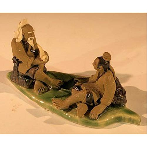 Bonsai Boy Ceramic Figurine Two Mud Men On A Leaf, One Sitting Smoking a Pipe, The Other Sitting in Fine Detail