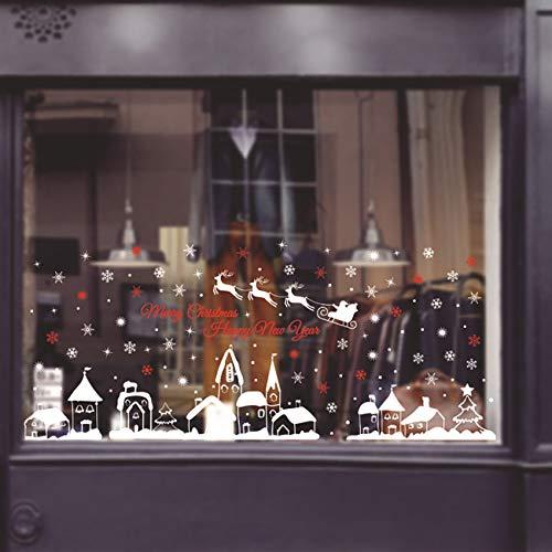 ShiyiUP Weihnachten Fensterkleber Wandsticker Fensterbild Aufkleber Wandtattoo Dekoration 6 Blatt,Dorf