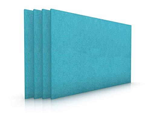 Edles Filz Platzset im 4er Set in kräftigem Petrol Blau, moderne Tischmatten abwischbar, hochwertige Platzmatten 30x45cm, +weitere Farben, pflegeleichtes Tisch-Accessoire, Filzmatten 4 Stück 4mm dick