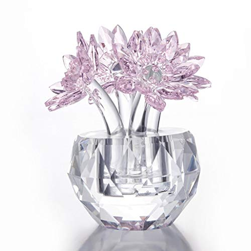 GFGFS Geschenk for Mutter Kristall Lotus Blume Figur Glas Fengshui Ornamente Papiergewehr mit Geschenkbox Home Tischdekoration