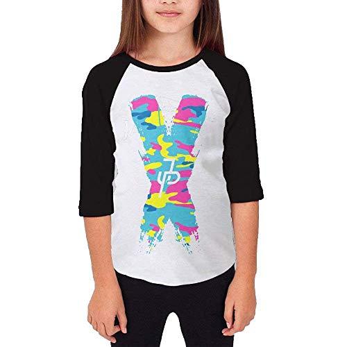 Youth Jake Paul X JP Logo Short Sleeve Cotton Tee Shirt 3/4 Sleeve Tshirt Outfit Clothes T Shirts for Boys Girls Logan Black L