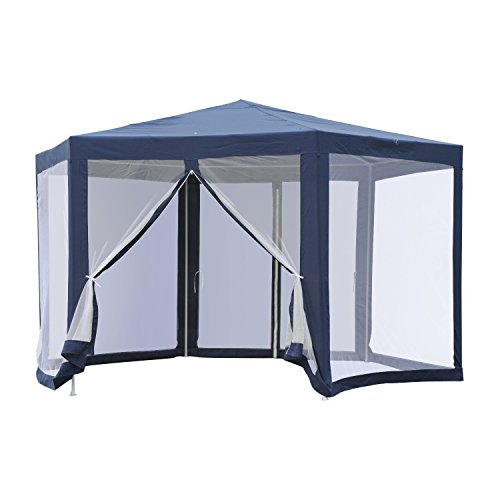Outsunny Outdoor Hexagon Sun Shade Canopy Tent with Protective Mesh Screen Walls & Proper UV Sun Protection, Blue