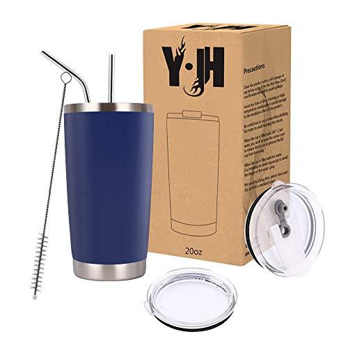 Y·J&H 20oz (550ml) Doppelwandig Vakuum Isolierter Autobecher, Edelstahl Reiseflasche, Thermobecher Kaffee to Go mit 2 Spritzfestem Deckel 2 Strohhalm, Rohrbürste,BPA Free - Marine