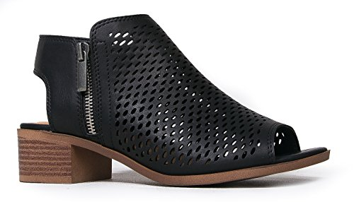 J. Adams Tracy Perforated Flat Bootie - Casual Open Toe Low Heel - Cut Out Shoe, Black Pu, 9