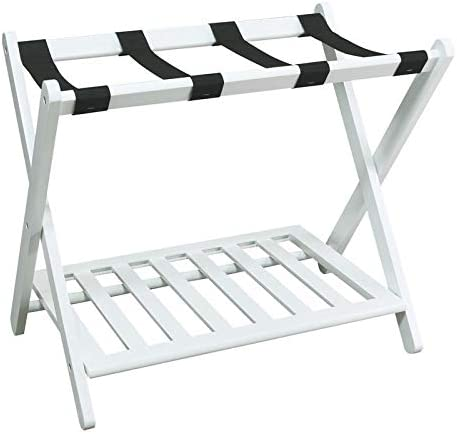 Sturdy Wooden MISC White Hotel Luggage Rack for Guest Room Folding Suitcase Rack Collapsible Carry On Holder Bedroom Single Pack