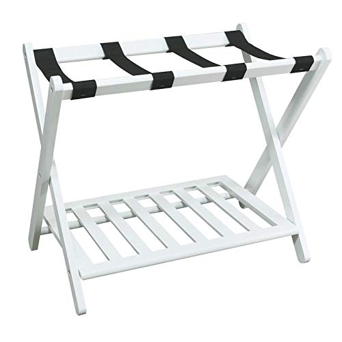 MISC White Hotel Luggage Rack for Guest Room Folding Suitcase Rack Collapsible Carry On Holder Bedroom, Sturdy Wooden
