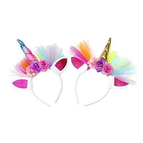 JMITHA Haarreif Einhorn Elastisch Einhorn Blumenmädchen Haarschmuck Mädchen Haare Hoop Stirnbänder Haar-Zusätze Haarreif -2 Stück (A)